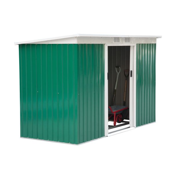 Outsunny 9' x 4' Outdoor Metal Garden Storage Shed - Green/White / Steel Garage Tool Utility House spacious sturdy backyard shed | Aosom