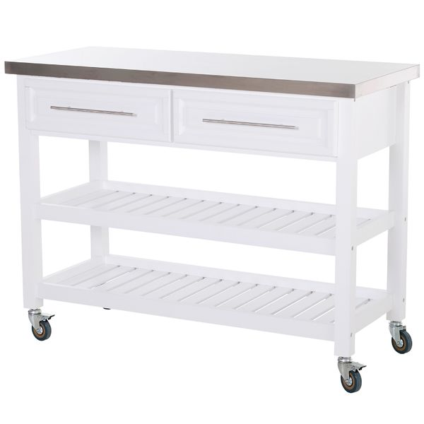 HOMCOM Rolling Kitchen Island Cart with Drawers  Shelves  and Stainless Steel Top - White|AOSOM.COM