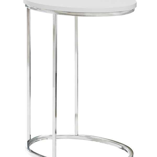 """Monarch 25"""" Contemporary Oval Chrome Metal Base C-Shaped Side Accent Table - Glossy White Top Finish   Aosom"""