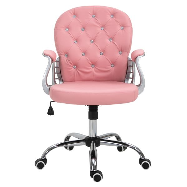 Vinsetto Ergonomic Office Chair Vanity Middle Back Office Chair Tufted Backrest Swivel Rolling Wheels Height Adjustable Task Chair With Armrests - Pink | Aosom