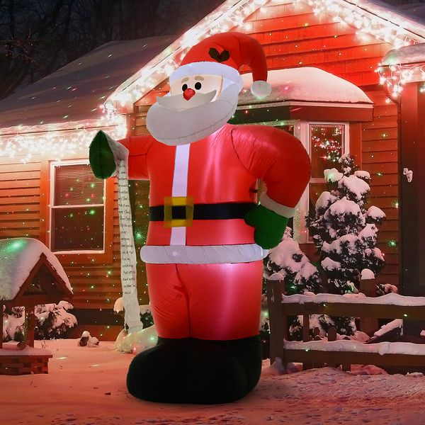 HOMCOM 8' Tall Outdoor Lighted Airblown Inflatable Christmas Lawn Decoration Santa Claus with List | Aosom