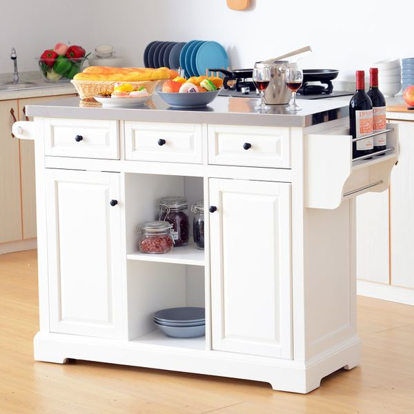 """HOMCOM 51"""" L Wood Stainless Steel Portable Rolling Kitchen Island Cart with Wheels - White / stainless steel kithen island 