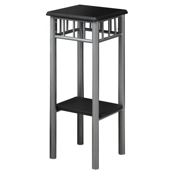 """Monarch 28"""" Contemporary Grey Metal Frame 2-Tier Plant Stand Side Accent Table - Black Finish   Aosom"""