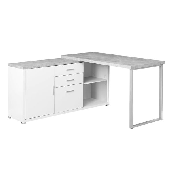 "Monarch 60"" L-Shaped Contemporary Cement-look Top Computer Desk with Storage - White / Grey Cement 