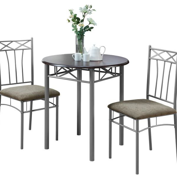 "Monarch 3-Piece Modern 30"" Round Wood Grain-Look Top Grey Metal Frame Table and Padded Chairs Dining Bistro Set - Cappuccino Brown Finish 
