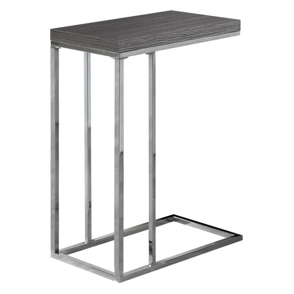 """Monarch 25"""" Modern Wood Grain-Look C-Shaped Side Accent Table - Grey Finish 