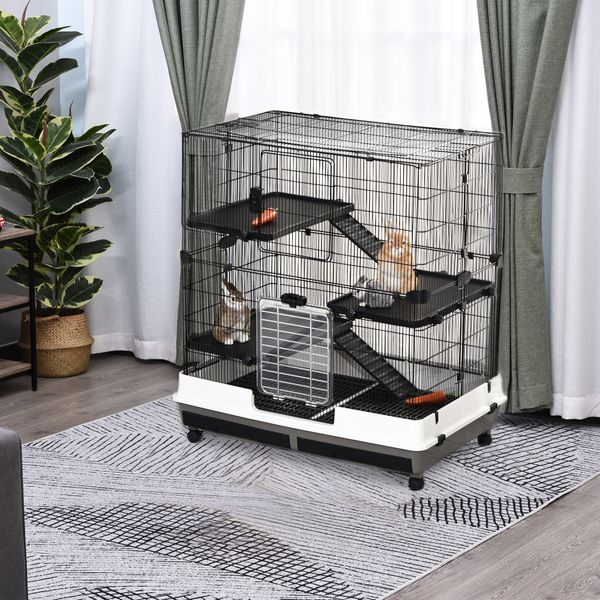 PawHut 4-tier Platform Rolling Small Animal Rabbit Cage for Hamsters Chinchillas & Gerbils with a Large Living Space 3-Tier Easy | Aosom