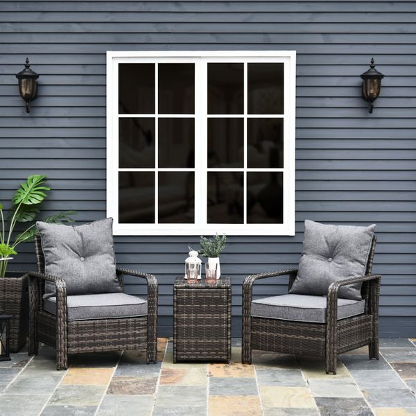 Outsunny 3 Piece Pe Rattan Patio Chairs