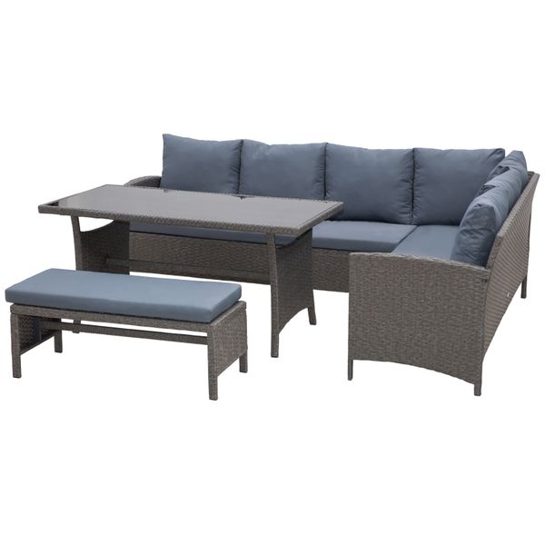 Outsunny 4 Piece Modern Outdoor Rattan Wicker Furniture Set with Dining Table Bench & Sofa for Patio & Backyard Grey Outside Contemporary Waterproof Combo w/   Aosom