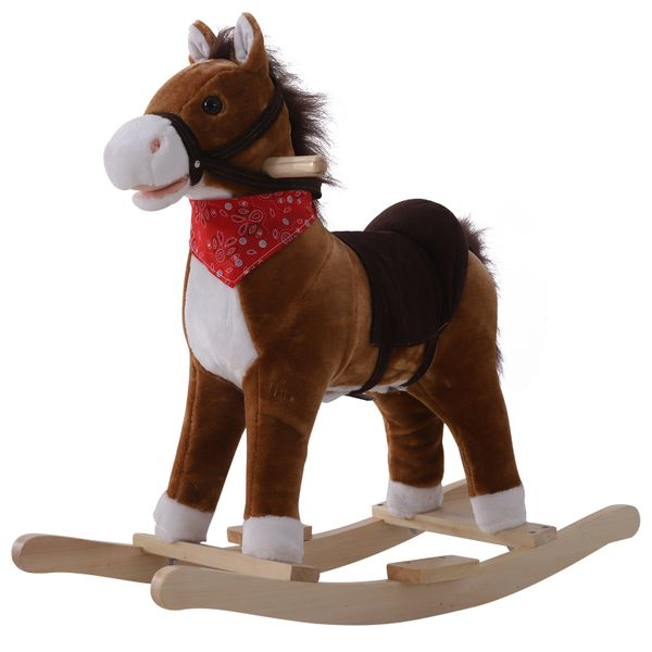 Qaba Kids Plush Toy Rocking Horse Ride on with Realistic Sounds Moving Mouth & Tail with Red Scarf | Aosom