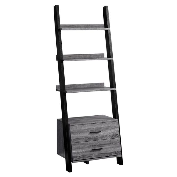 """Monarch 69"""" Contemporary Wood Grain-Look 4-Shelf Ladder Bookcase with Storage Drawers - Black / Grey Tones Finish 