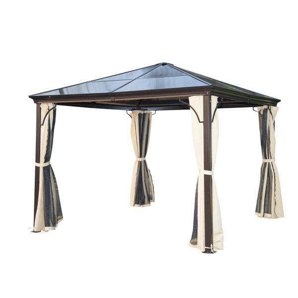 Outsunny 10x10 Metal Gazebo Aluminum Hardtop Backyard Gazebo Outdoor Patio Canopy Party Shelter with Mesh and Nets - Brown | Aosom
