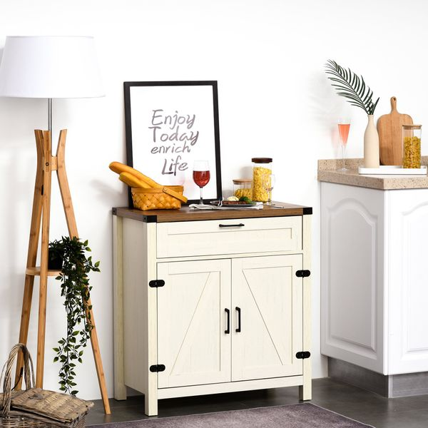 HOMCOM Industrial Wooden Storage Cabinet Kitchen Sideboard with Drawer and Adjustable Shelf for Dining Room & Living Room  Distressed White w/ | Aosom