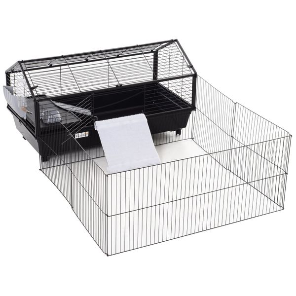 """PawHut Rolling Metal Rabbit Guinea Pig, or Small Animal Hutch Cage with Main House and Run 47"""" L 