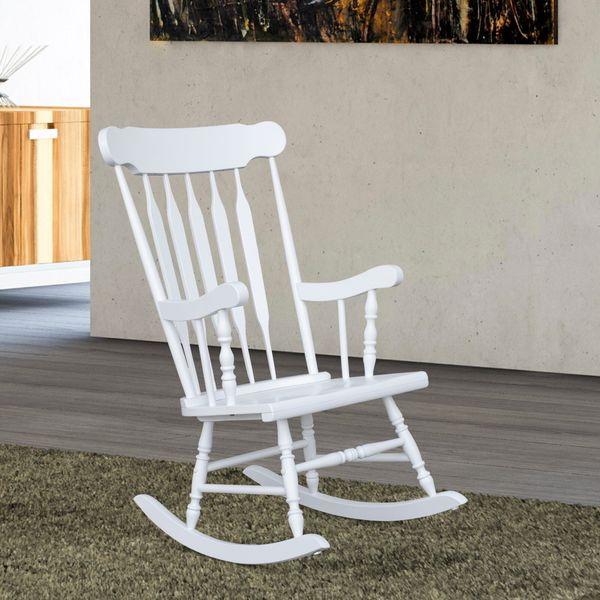 HOMCOM Wooden Traditional Slat Wood Rocking Chair Indoor Porch Furniture -White|AOSOM.COM