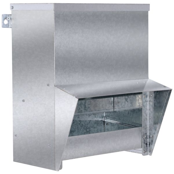 PawHut Rat Proof Auto Large Chicken Feeder Wall Mounted Galvanized Steel Poultry Feeders Size for 4 Chickens Holds up to 13 L of Feeds | Aosom