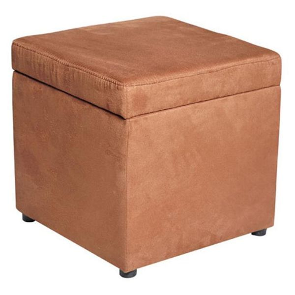 HomCom Suede Upholstered Storage Footrest Ottoman Flip-up Attached Lid Lounge Seat - Brown | Aosom