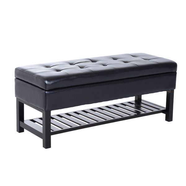 "HomCom 44"" PU Leather Tufted Shoe Rack Ottoman Storage Bench - Black  faux leather storage ottoman