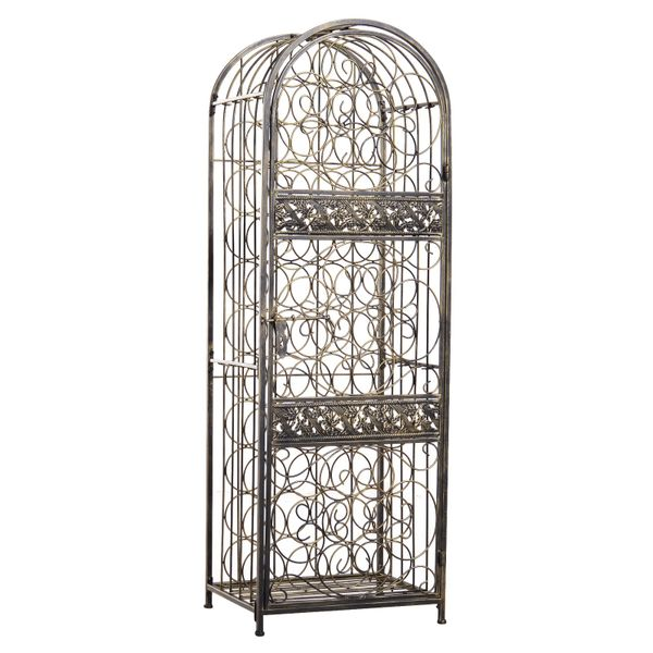 HOMCOM 45 Bottle Wrought Iron Wine Rack with Organte Scrollwork Sliding Lock Door for Safety & Beautiful Design - Antique Bronze | Aosom