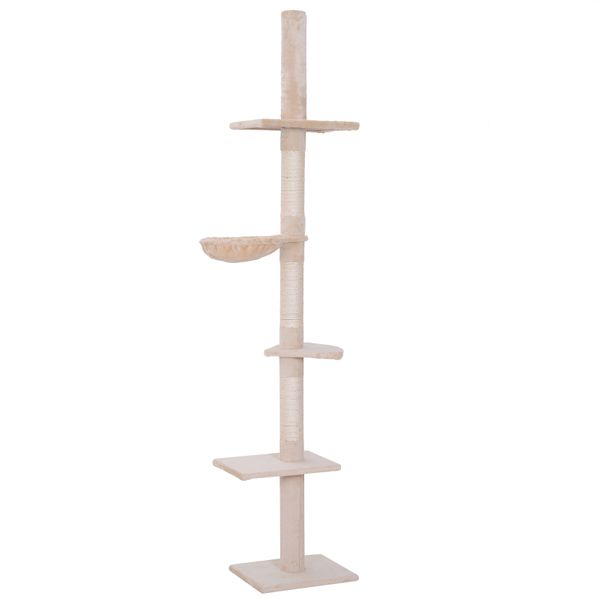 """PawHut 8.5' Adjustable Height Floor-To-Ceiling Vertical Cat Tree with 5 Carpeted Platforms & 3 Sisal Rope Scratching Areas Beige 106"""" Large Platform Tower AOSOM.COM"""