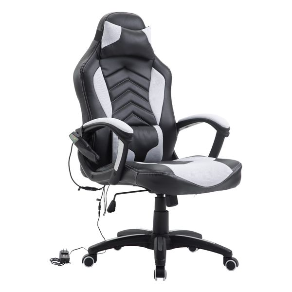 HomCom High Back Racing Style Massage Ergonomic Gaming Chair With Lumbar And Head Support | Aosom