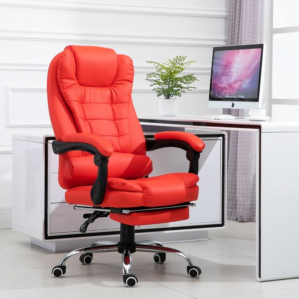HomCom Reclining Office Chair With Footrest Red
