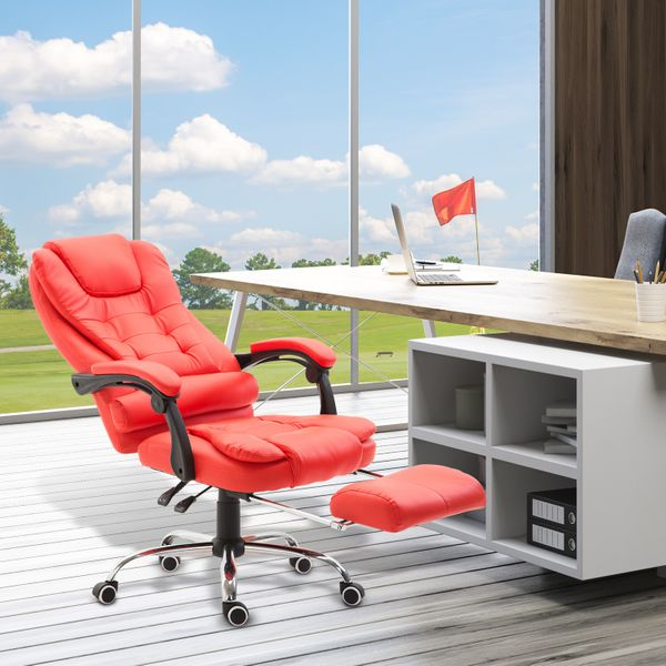 Homcom High Back Reclining Office Chair Swivel Executive Napping Pu Seat W Footrest Red Executive Chairs Aosom