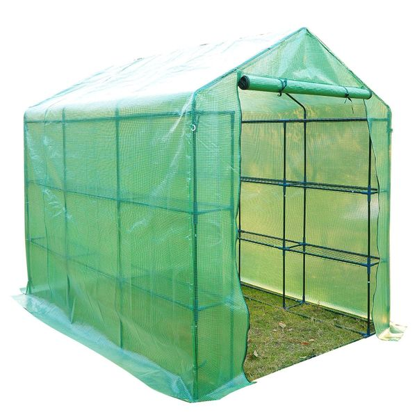 Outsunny 8' x 6 'x 7' Portable Greenhouse w Shelves 6' Outdoor Walk-in with Built In Plant walk-in greenhouse with shelves | Aosom
