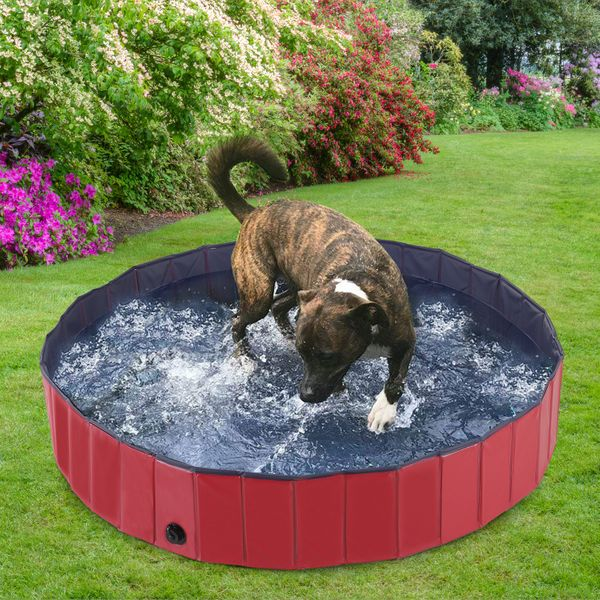 L:120 * 30cm PAWZ Road Large Dog swimming pool PVC Portable /& Foldable Bathing tub Padding Pool for dog cat puppy indoor /& outdoor perfect for garden Blue
