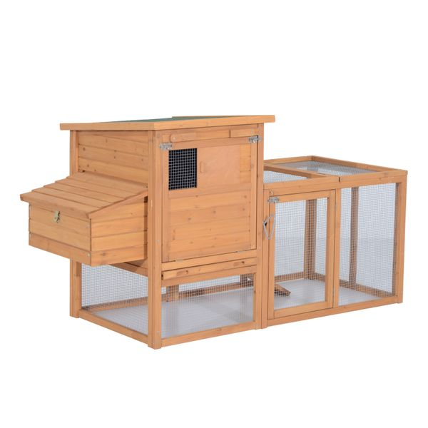 "Pawhut Outdoor Wooden Chicken Coop w/Run / 75"" chicken coop with run and Nesting Box"