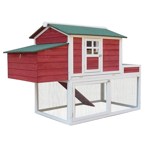"""Pawhut Chicken Coop 63"""" Farmhouse Wooden Chicken Coop with Display Top, Run Area and Nesting Box Backyard Hen Hutch House Cage with Run 