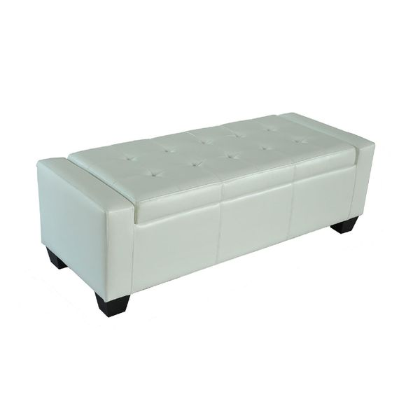 "Homcom PU Leather Storage Ottoman / Shoe Bench - White 51"" Tufted Cream faux leather storage ottoman 