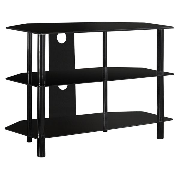 "Monarch 36"" Contemporary 3-Tier Tempered Glass Shelf Metal Framed Console TV Stand - Black Finish 