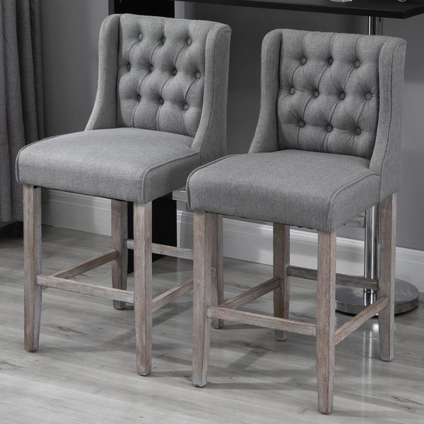 HomCom Modern Bar Height Fabric Wingback Dining Chairs With Tufted Buttons - Grey Set of 2 / Upholstered Backed Bar Stool|Aosom.com