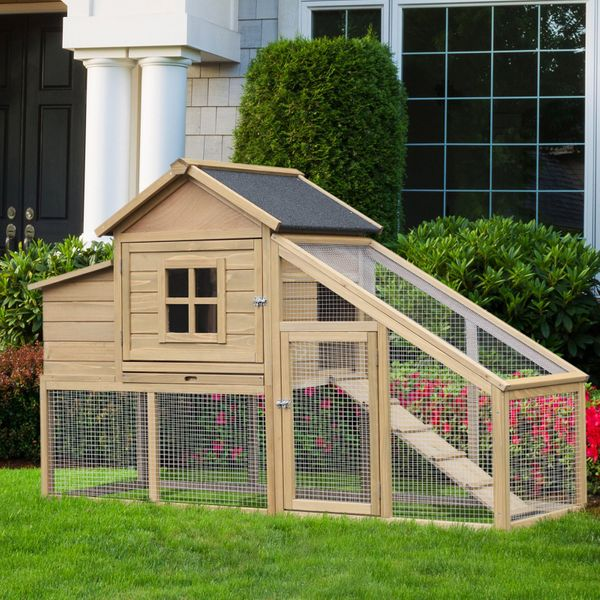 PawHut Outdoor Wooden Raised Chicken Coop Hen House with Nesting Box and Run | Aosom