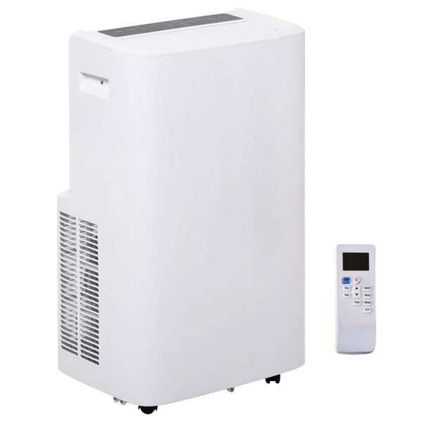 HOMCOM 12000 BTU Portable Mobile Air Conditioner Cooling Dehumidifying Ventilating with Remote Controller, LED Display, 3 Speed Fan, 24-Hour Timer for Bedroom, Living Room, Office White   Aosom