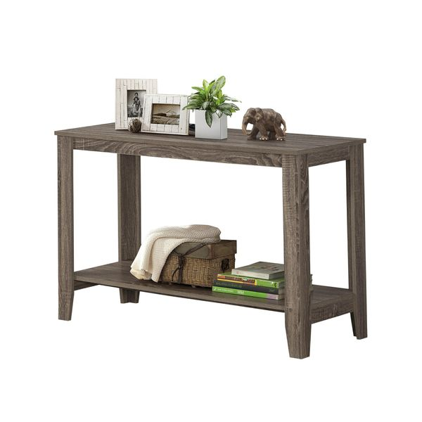 """Monarch 44"""" Contemporary Rectangular Reclaimed Wood-look Sofa Console Table - Dark Taupe 