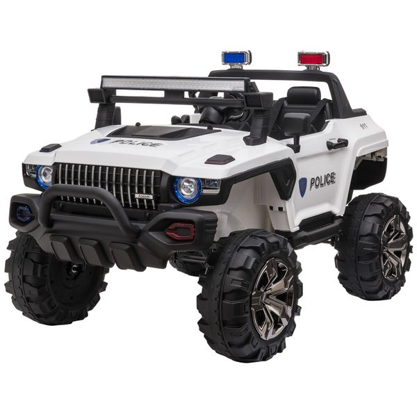 Aosom 12V Electric Battery Operated Riding Car Toy for Toddlers Police SUV 2 Seat White | Aosom