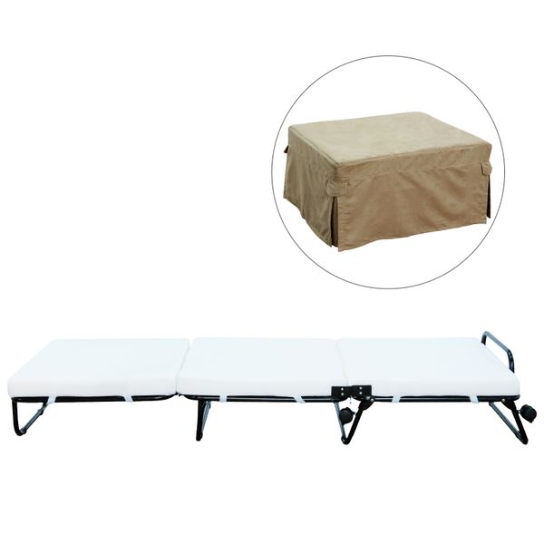 HomCom Twin Size Folding Convertible Sleeper Bed Ottoman With Beige Slipcover | Aosom