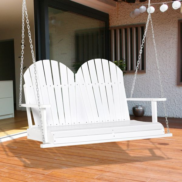 Outsunny Porch Swing Chair Outdoor 2-Seater With Slat Design, Hanging Chains Wooden Hammock Bench For Garden Patio Yard, Natural Natural | Aosom