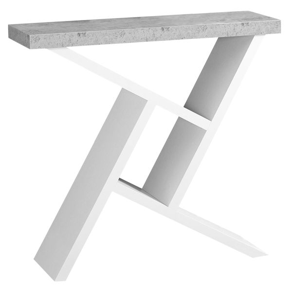 """Monarch 36"""" Architectural Modern Cement-Look Top Angular Storage Base Accent Console Table - White Finish 
