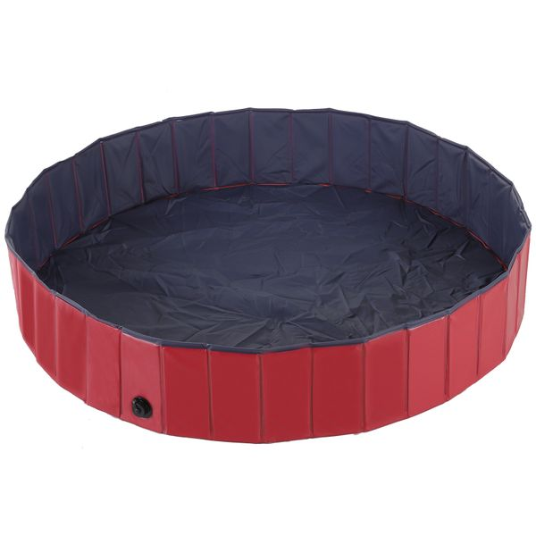 "Pawhut 12"" x 47"" Foldable PVC Dog Pool – Red and Blue Collapsible Pet Swimming Bathing Tub - Dark Home Outdoor foldable plastic dog pool 