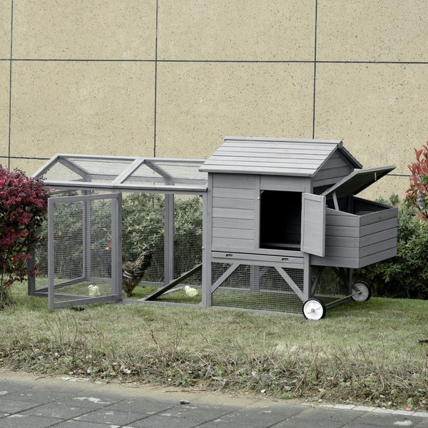 """PawHut 98"""" Chicken Coop Wooden Hen House Rabbit Hutch Poultry Cage Pen Portable Backyard With Wheels Outdoor Run and Nesting Box Grey Pawhut W/   Aosom"""