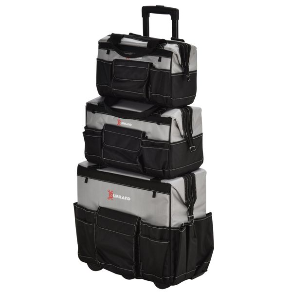 DURHAND 3pcs Rolling Mobile Tool Bag Electrician Bags Organizer Mechanic Storage with Adjustable Carrying Handle Black and Grey Heavy Duty Multi-function Tote   Aosom