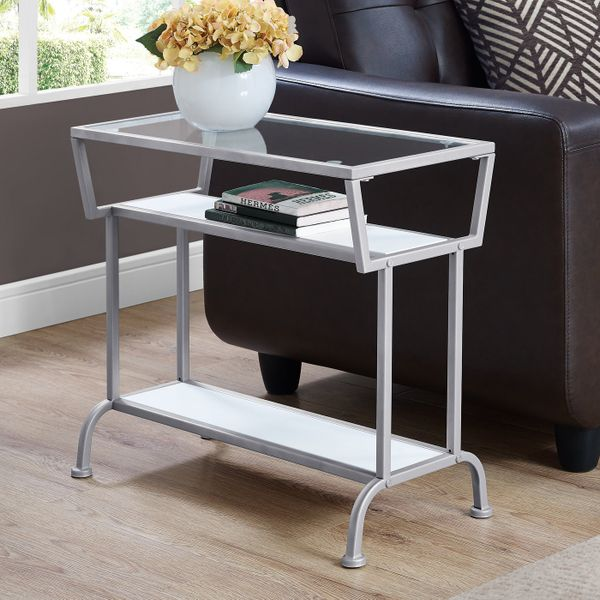 """Monarch 22"""" 3-Tier Contemporary Tempered Glass Top Metal Framed Side Accent Table - White Finish 