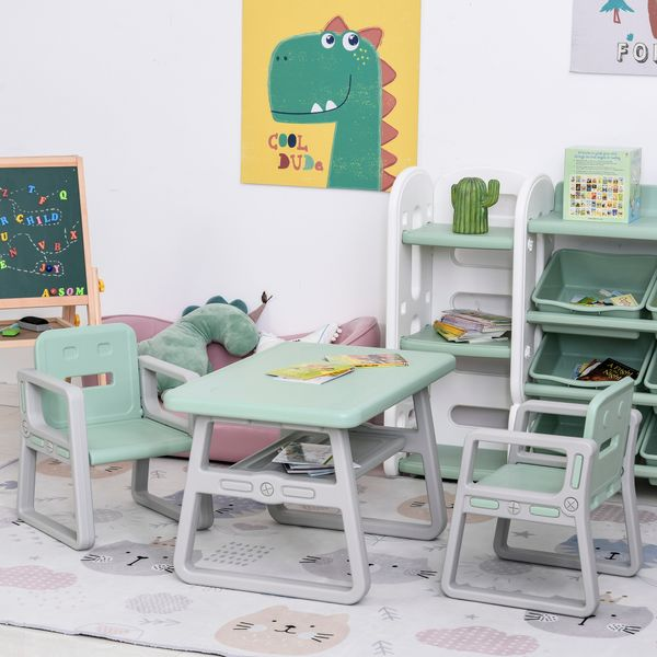 Qaba 3-Piece Set Kids Table and Chair Writing Desk with 2 Comfort Chairs  Storage Space  & Child-Safe Materials  Green 3 Unit Children w/ Child Safe   Aosom