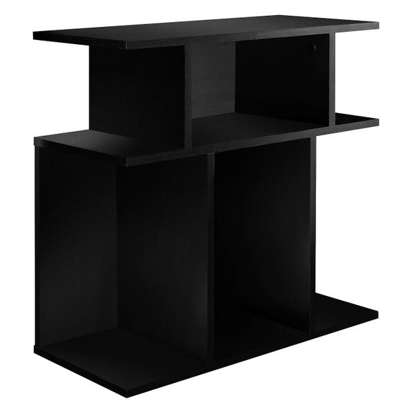 """Monarch 24"""" Modern 3-Tier Open Concept Display Shelves Wood Grain-Look Accent Side End Table - Black Finish 