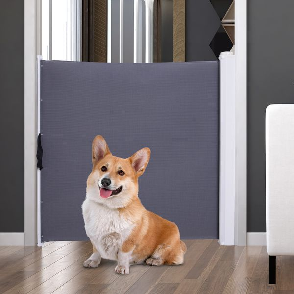 PawHut Retractable Safety Dog Gate Pet Barrier Home Doorway Room Divider Stair Guard|AOSOM.COM