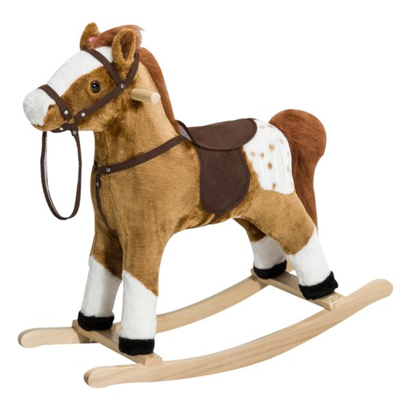 Qaba Soft Kids Plush Toy Bouncing Pony Ride-On Walker Stroller Nursery Rhyme Songs – Brown | Aosom