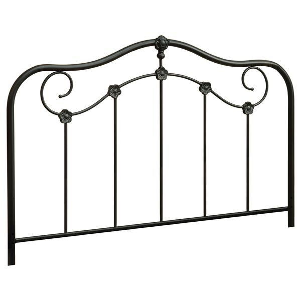 """Monarch 60"""" Traditional Flower Scroll Coffee Finish Metal Motif Headboard - Fits Full or Queen Size Bed Frame   Aosom"""
